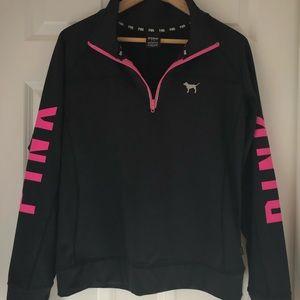 PINK Victoria's Secret pullover 1/4 zip black